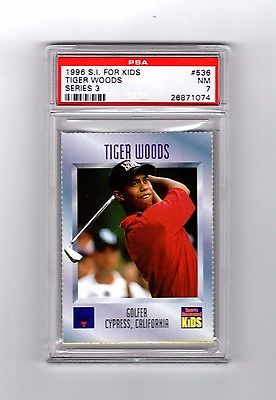 Tiger Woods rookie, 1996 Sports Illustrated for Kids 536, PSA 7, great card!