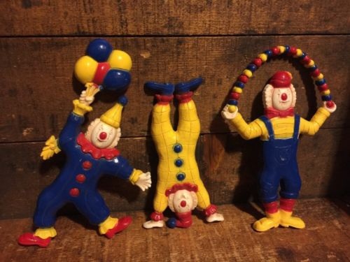 Lot 3 Vintage Plastic Clowns Wall Art Kids Bedroom Decor
