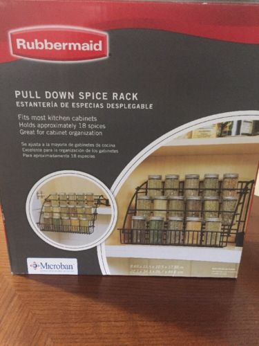 Rubbermaid Pull Down Cabinet Spice Rack Black Metal