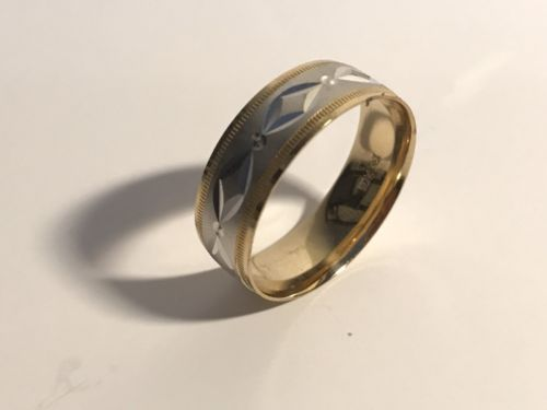 Swiss cut mens wedding band Ring Two Tone 10k