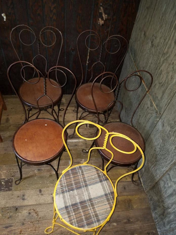 Set of 5 Vintage Soda Fountain Ice Cream Parlor Twisted metal Chairs