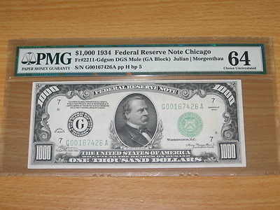 1934 $1,000 One Thousand Dollar Bill - FRN- PMG 64 Choice Uncirculated