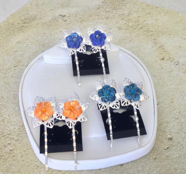 Handmade Mother of Pearl Flower with Swarovski Crystal Center Filigree Bobby Pin