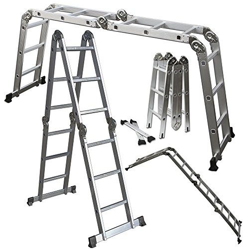 ALightUp 12.5ft Aluminum Folding Step Ladder Multi Purpose Foldable Extension
