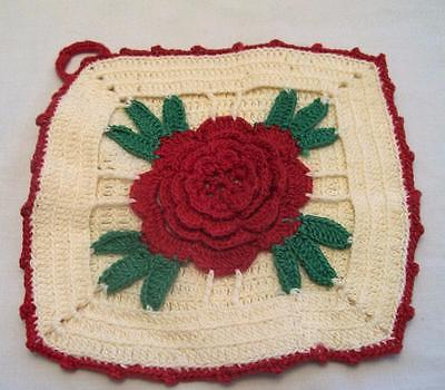 Vintage Potholder Hand Crocheted Red Cabbage Rose