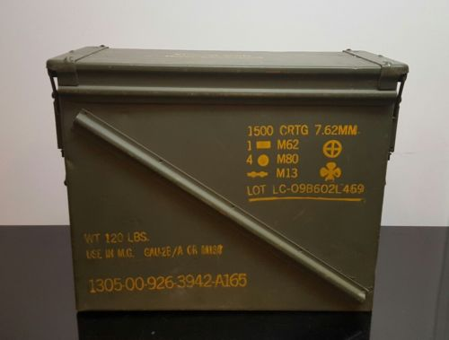 USGI 20mm AMMO CAN M548 1500 ROUNDS 7.62 METAL LARGE AMMO CAN free shipping