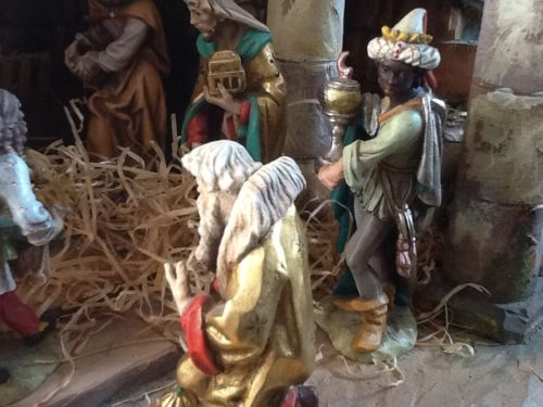 Vintage ANRI ITALY Musical Nativity Creche Set 17 Carved Wood Figures BERNARDI
