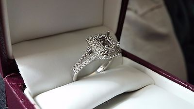 Diamond Engagement Semi Mount Double Halo Splt Shank Cushion Ring 14k White Gold