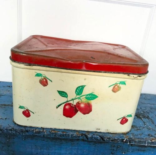 Vintage Decoware Breadbox Red Apple Tin Metal Canister Farmhouse Country Kitchen
