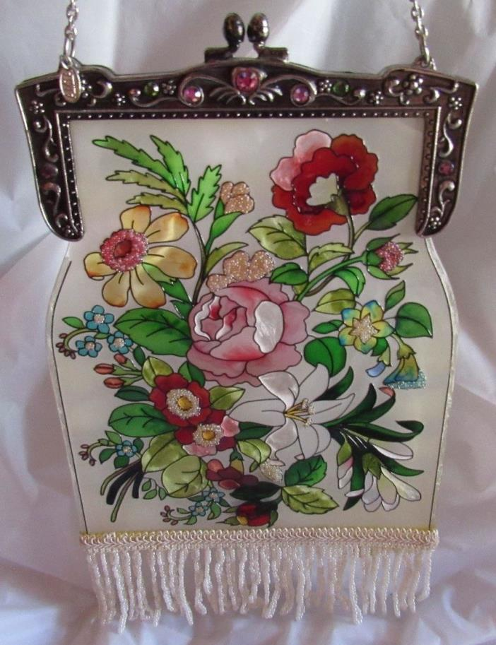 Floral Flowers Handbag Design Stain Glass Window Art