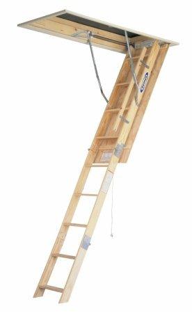 Werner W2210 250-Pound Duty Rating Wood Folding Attic Ladder, 10-Foot