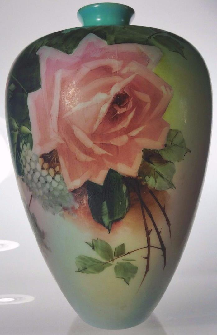 Fostoria Glass Decorative Art Hand-Painted Stunning Milk Glass Floral Vase c1904