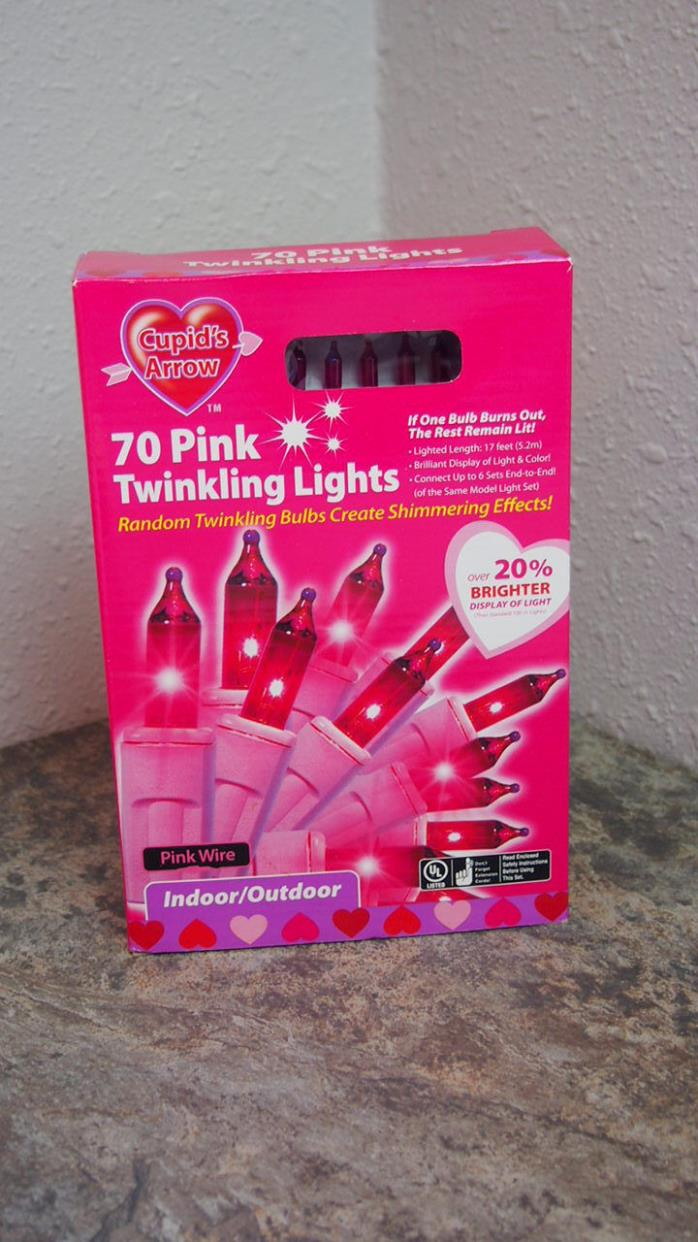 Cupids Arrow Twinkling Pink Lights 70 Home Decor New