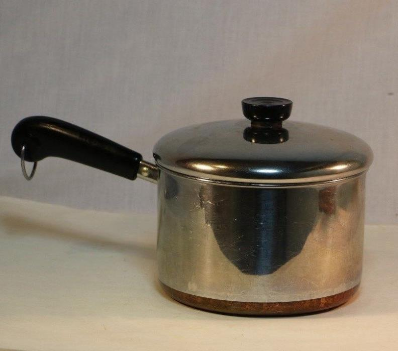 Vintage Revere Ware 3 Quart Pot Copper Clad Stainless Clinton, ILL, USA