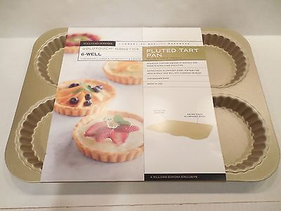 Williams-Sonoma Goldtouch Nonstick Fluted Tart Pan 6-Well Aluminized Steel NEW
