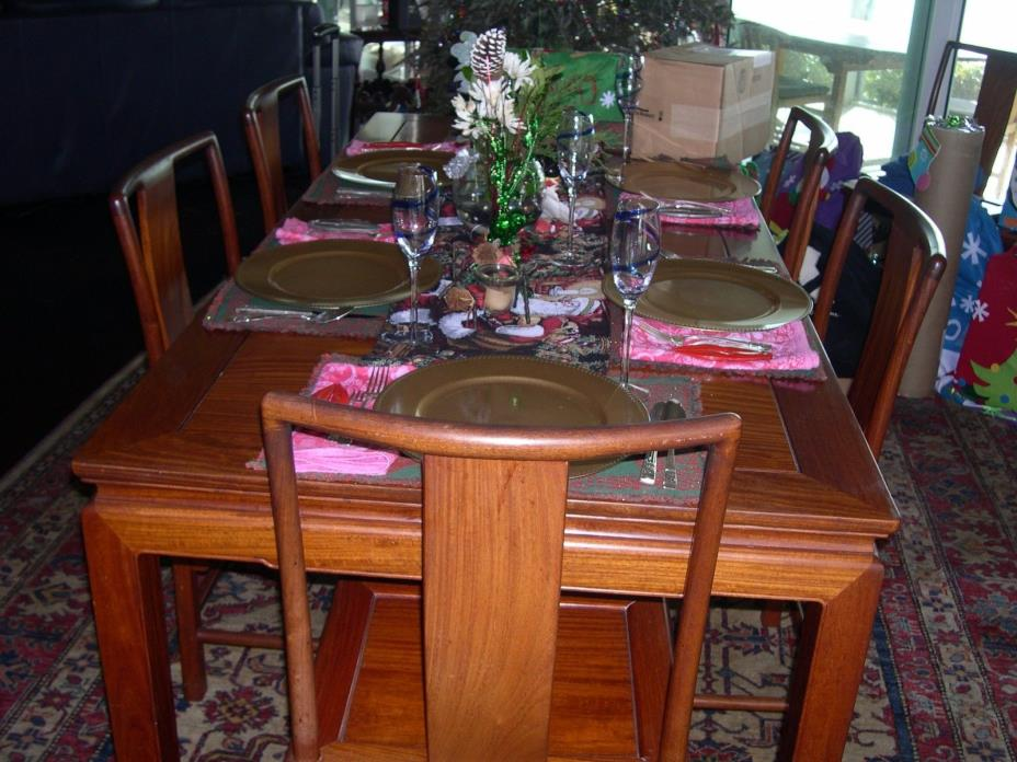 Asian Oriental Vintage Solid Rosewood Dining Table + 8 Chairs + Leaves-HUGE!!!