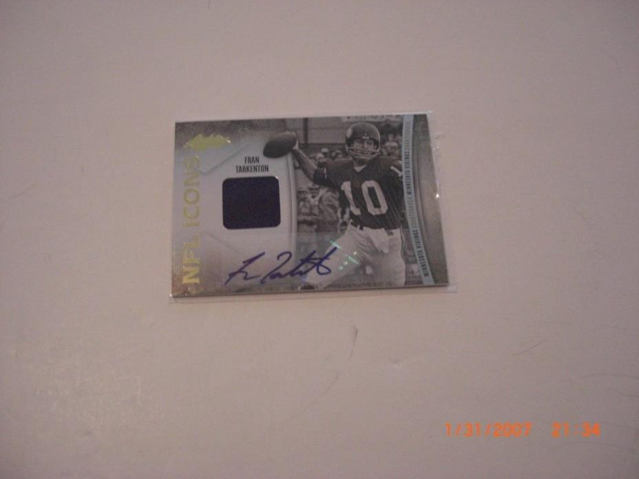 FRAN TARKENTON 07 ABSOLUTE NFL ICONS GAME USED JERSEY AUTO 44/45 SIGNED CARD