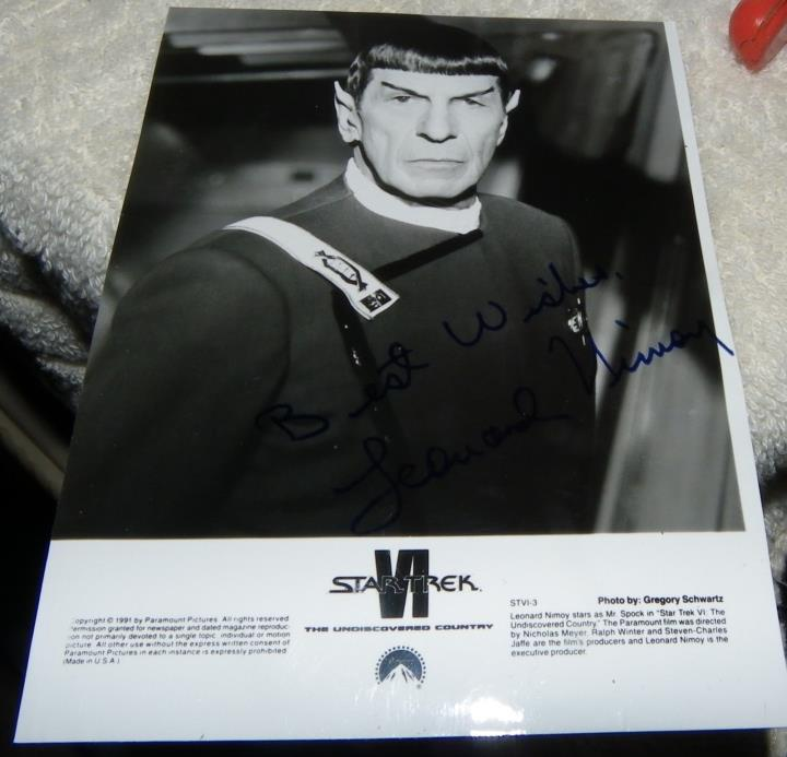 LEONARD NIMOY Autographed Promo Photo - SPOCK - STAR TREK VI