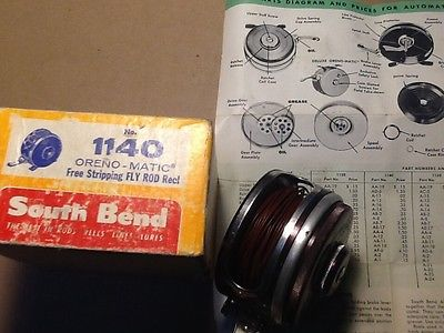 vintage south bend fly reel with box and paperwork
