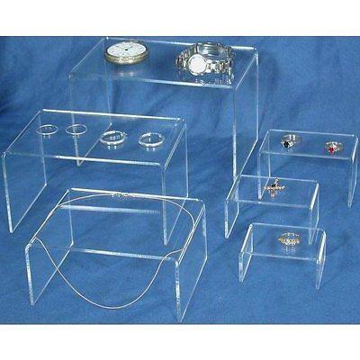 6 Clear Acrylic Jewelry Display Risers
