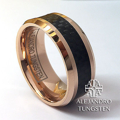 Tungsten Ring Men's 8MM Rose Gold Black Inlay Wedding Band Size 13