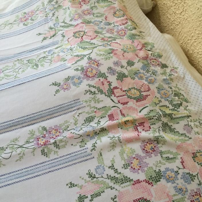 Vtg bed sheet flat QUEEN white with cross stitch pattern pink rose COTTAGE CHIC