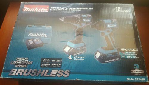 Makita XT248R 18V Li-ion Hammer Drill/Driver+Impact Driver+ 2 Batt.+ Charger NEW