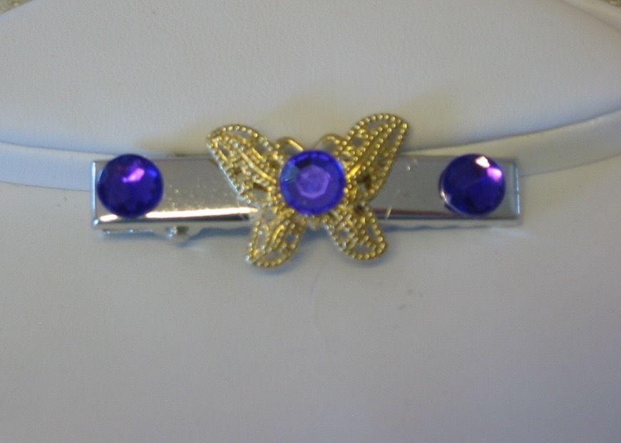 Handmade Purple Rhinestone Butterfly Hair Claws