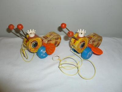 2 Vintage Queen Buzzy Bee Pull Toy Fisher Price 1958 Bumble Bee Number 444