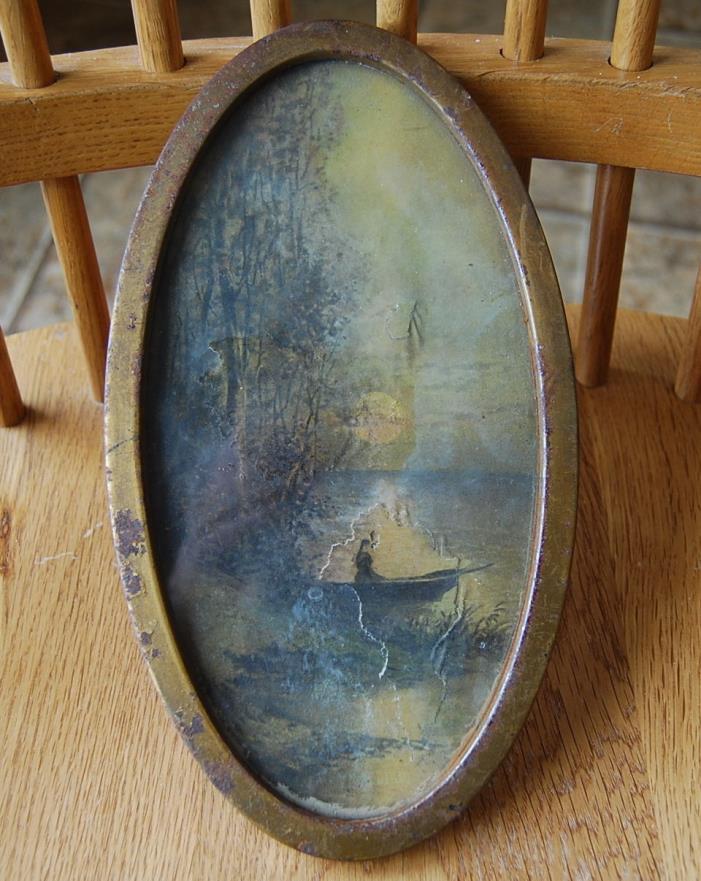 Vintage Small Oval Flat Glass Tin Frame Nice SIZE 9 X 5 Fair Lake Boat Scene