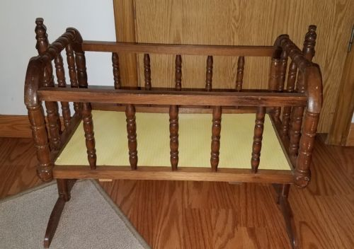 Vtg 1983 JENNY LIND Deluxe BABY DOLL CRADLE Rocking Bed Crib Bassinet