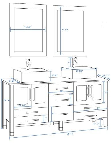 63 Inch Wood & Porcelain Double Sink Bathroom Vanity Set-