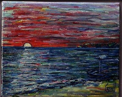 canvas SUNSET SHORE WALK 8x10 sunset shore oil painting beach signed CROWELL