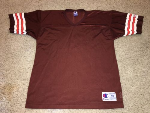VTG NFL Champion Cleveland Browns Blank Brown Jersey Mens 40 Medium
