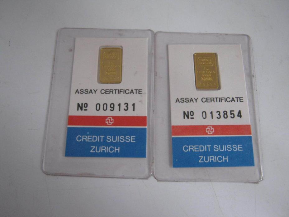 1 Gram 999.9 Gold Bar Credit Suisse Zurich Assay Switzerland April 1982 LOT OF 2
