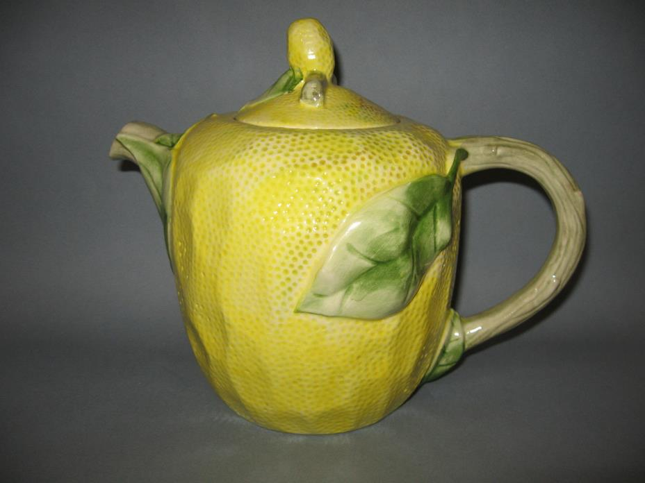 Large LEMON Teapot Hand Painted Portugal