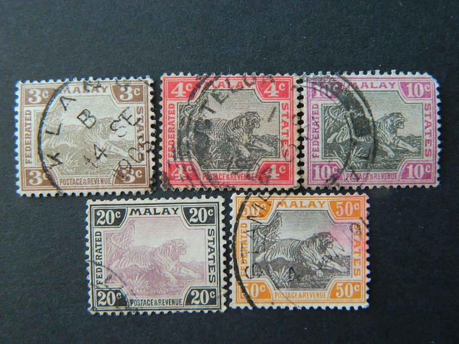 1708  FEDERATED MALAY STATES SC 27//33B (SG 32 36 43 45 47) USED