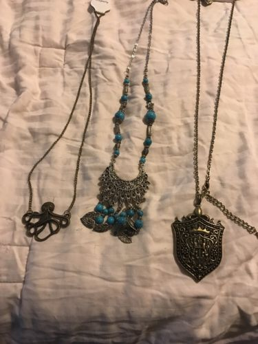 Shield Octopus White And Turquoise Jewelry Lot Fashion Costume Necklaces Lot