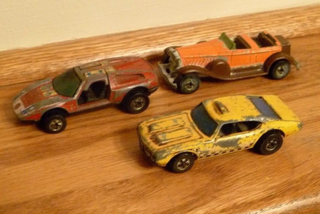 LOT of 3 Hot Wheels 70 Mercedes-Benz C-111 Yellow 0 Taxi 69 Olds 442 31 DOOZIE
