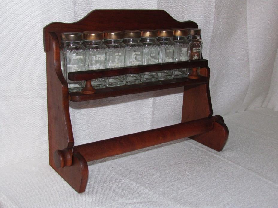 Vtg Wood Spice Rack Glass Jar Lid Paper Towel Bar Holder Wall Mount Crystal Food