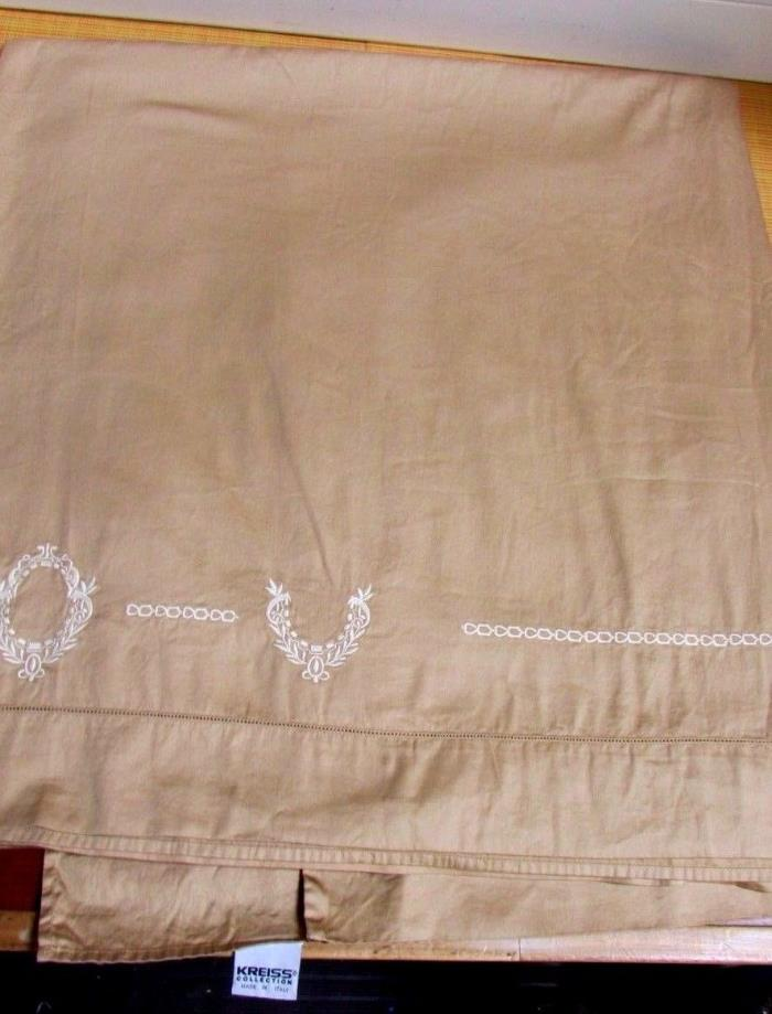 Vintage KREISS Collection 100% Egyptian Cotton Tan Embroidered King Flat Sheet