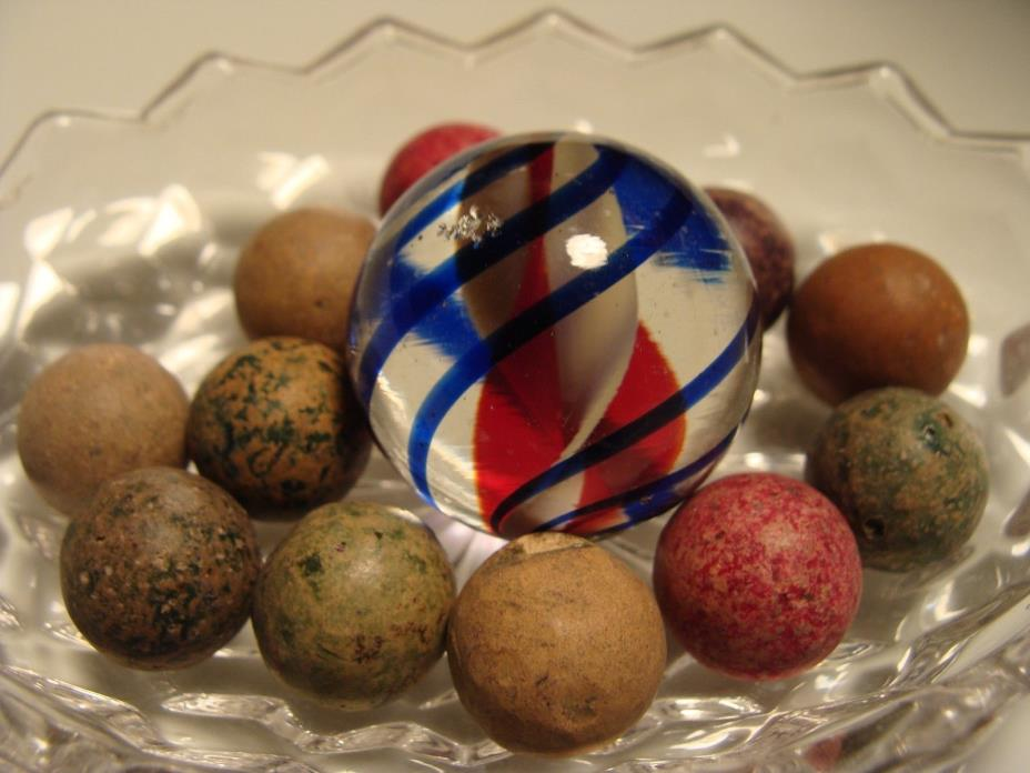12 Marbles Antique Clay & Big Art Glass Red White Blue W Small Nick Beautiful