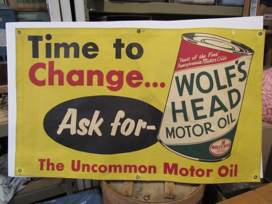 VINTAGE ORIGINAL 1907 - 1930's WOLFS HEAD MOTOR OIL SIGN ONE OF A KIND 46 by 28