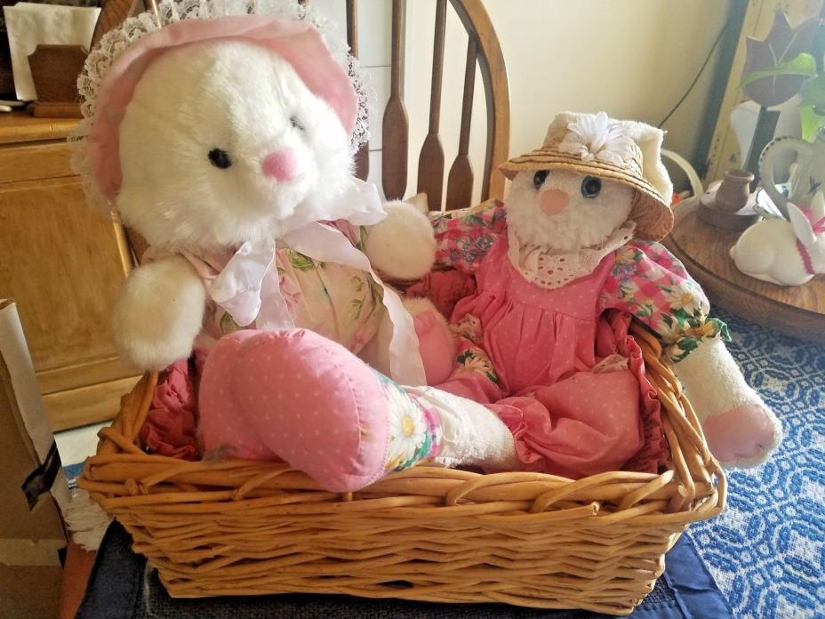 Two Cute Easter Bunnies in a Basket