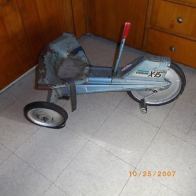 1964  MATTEL -  X-15 PEDDLE CAR - TRICYCLE - 3 WHEEL KIDS VINTAGE TOY BIKE