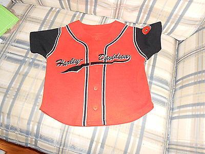 Harley Davidson orange youth baseball jersey sz 6