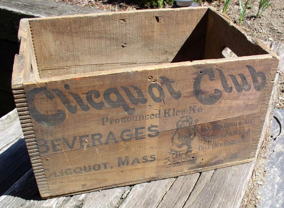 Clicquot club soda crate case wood