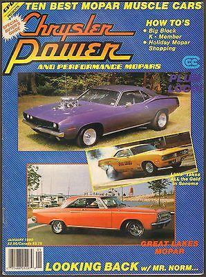 JANUARY 1990 CHRYSLER POWER MAGAZINE 1970 'CUDA, 1968 CHARGER, 1967-1969 BB DART