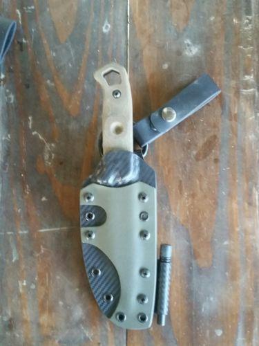 Tops Brakimo bushcraft knife with custom kydex sheath and factory sheath