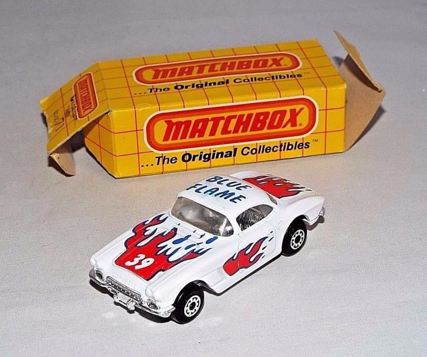 Matchbox Diecast w/ Original Box 1980s Release 01-00-71 '62 Blue Flame Corvette